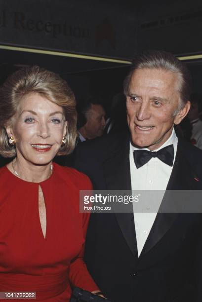 American actor Kirk Douglas and his wife Anne attend the British Academy Film Awards at the Grosvenor House Hotel in London 5th March 1985