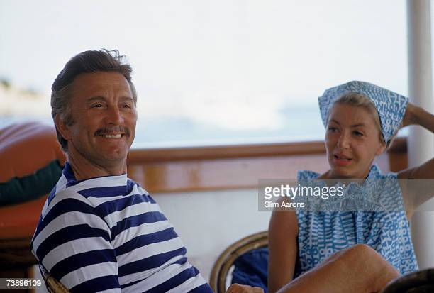 American actor Kirk Douglas holidays at Porto Cervo in Sardinia with his wife Anne Buydens August 1967