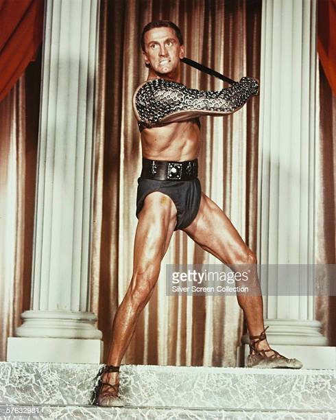 American actor Kirk Douglas plays the gladiator leader of a Roman slave revolt in 'Spartacus', directed by Stanley Kubrick', 1960.