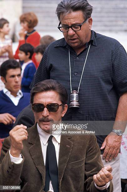 American actor Kirk Douglas preaparing a scene with American director Martin Ritt on the set of The Brotherhood Italy 1968