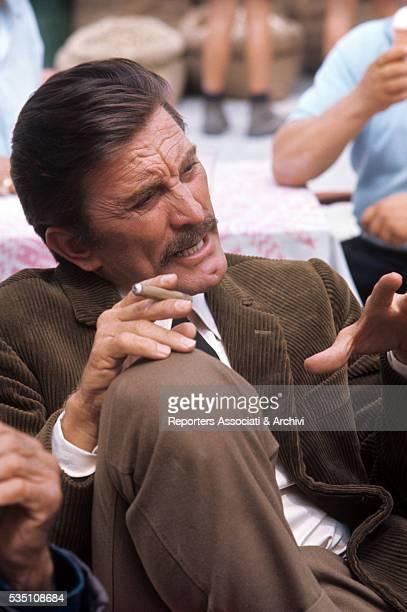 American actor Kirk Douglas taking a break on the set of The Brotherhood Italy 1968