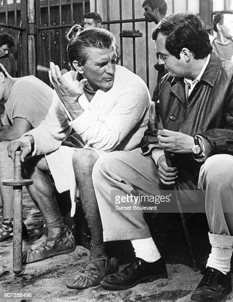 American actor Kirk Douglas with director Stanley Kubrick on the set of his movie Spartacus.