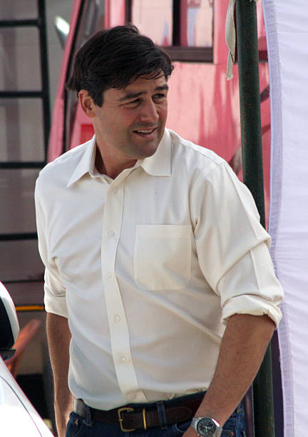 American actor Kyle Chandler walks on the set of Kathryn Bigelow`s forthcoming film on Osama bin Laden in Chandigarh on March 7 2012 The untitled...