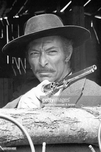 American actor Lee Van Cleef holding a gun in the film The Good the Bad and the Ugly 1966