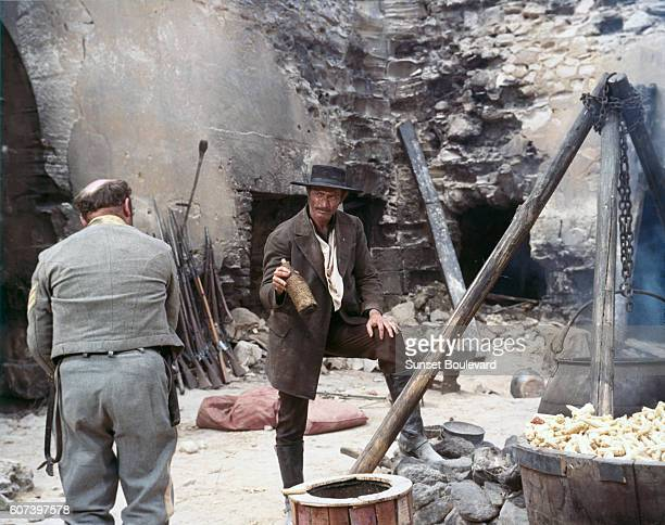 American actor Lee Van Cleef on the set of The Good The Bad and The Ugly written and directed by Italian Sergio Leone