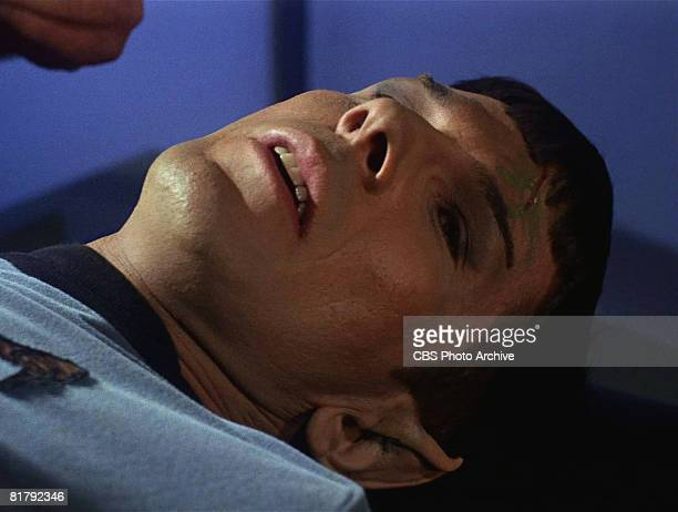 American actor Leonard Nimoy as an injured Mr Spock in 'The Man Trap' the premiere episode of 'Star Trek' which aired on September 8 1966