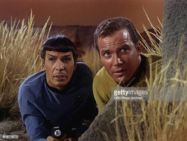American actor Leonard Nimoy as Mr. Spock and Canadian actor William Shatner as Captain James T. Kirk appear in a scene from 'The Man Trap,' the...