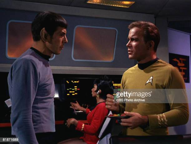 American actor Leonard Nimoy as Mr Spock and Canadian actor William Shatner as Captain James T Kirk appear in a scene from 'The Man Trap' the...