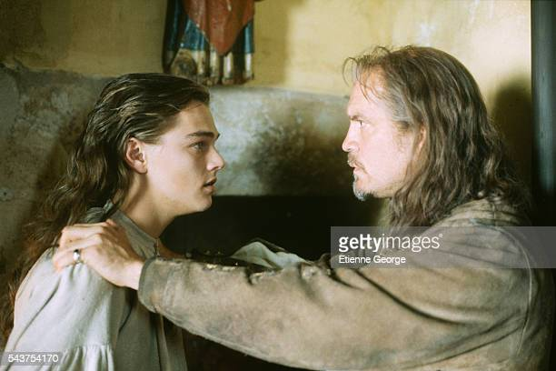 American actor Leonardo DiCaprio and American actor John Malkovich on the film set of 'The Man in the Iron Mask' directed by American director...