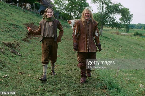 American actor Leonardo DiCaprio and French actor Gerard Depardieu on the film set of 'The Man in the Iron Mask' directed by American director...