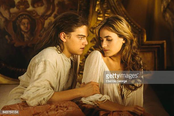 American actor Leonardo DiCaprio and French actress Judith Godreche on the film set of 'The Man in the Iron Mask' directed by American director...