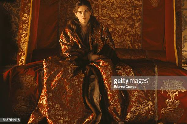 American actor Leonardo DiCaprio wearing a costume designed by English Costume Designer James Acheson on the film set of 'The Man in the Iron Mask'...