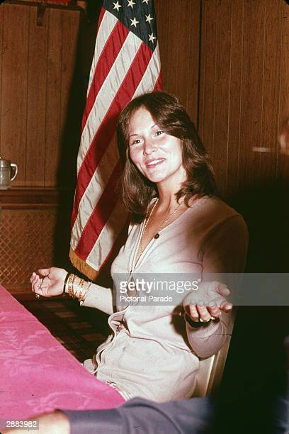 American actor Linda Lovelace, star of the film ' Deep Throat' gives an interview in Los Angeles, October 1973.