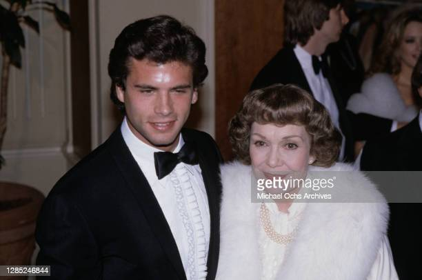 American actor Lorenzo Lamas and American actress Jane Wyman attend the 40th Annual Golden Globe Awards, held at the Beverly Hilton Hotel in Beverly...