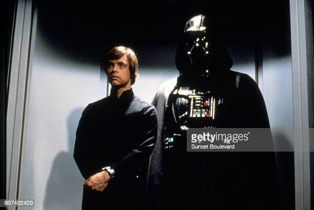 American actor Mark Hamill and British David Prowse on the set of Star Wars: Episode VI - Return of the Jedi directed by Welsh Richard Marquand.