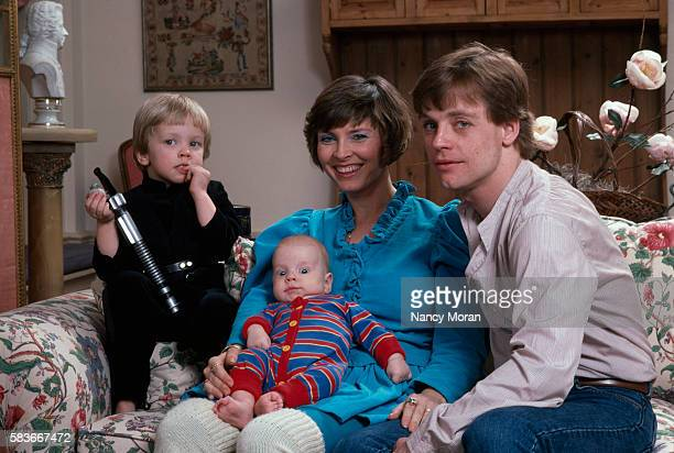 American actor Mark Hamill his wife Marilou York and their sons Nathan and Griffin at their home in Los Angeles