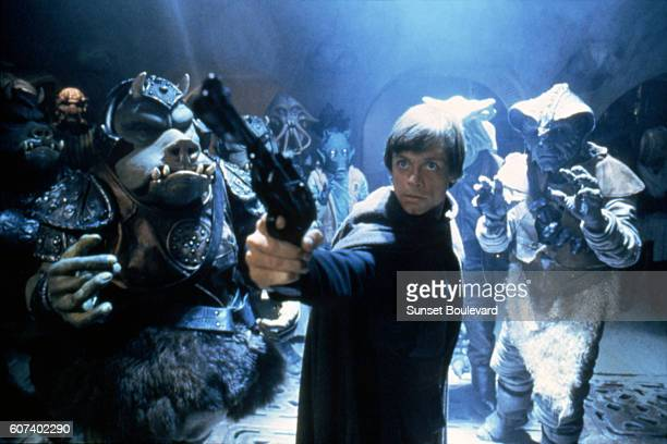 American actor Mark Hamill on the set of Star Wars: Episode VI - Return of the Jedi directed by Welsh Richard Marquand.