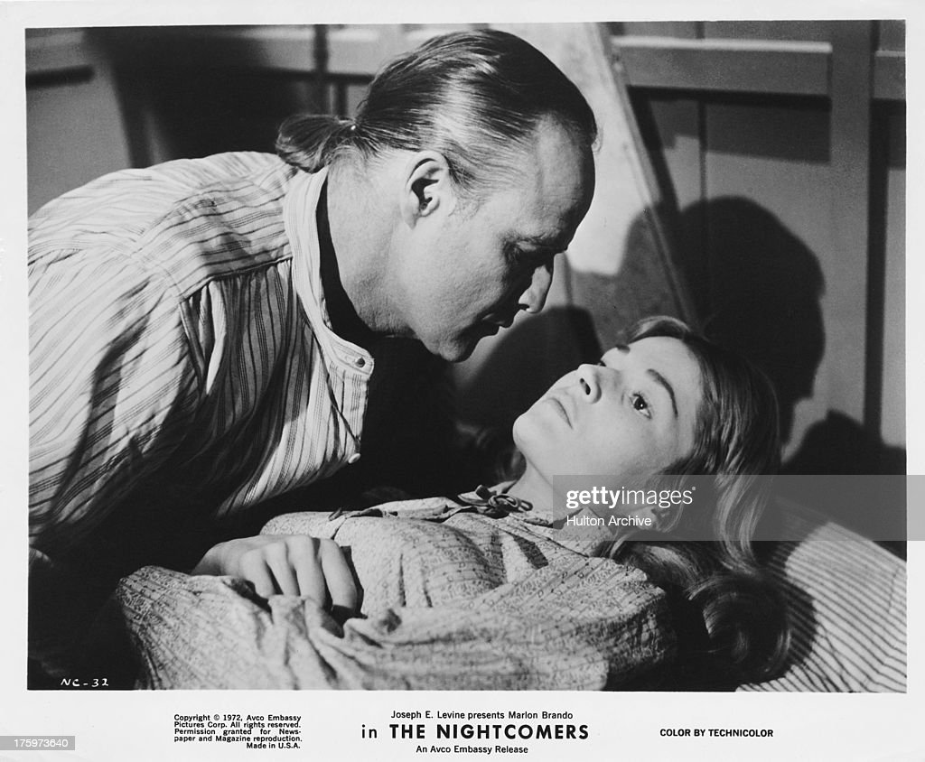American actor Marlon Brando (1924 - 2004) and actress Stephanie Beacham in a scene from the film 'The Nightcomers', 1971.