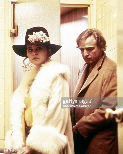 American actor Marlon Brando as Paul and French actress Maria Schneider as Jeanne in 'Last Tango In Paris' directed by Bernardo Bertolucci 1972
