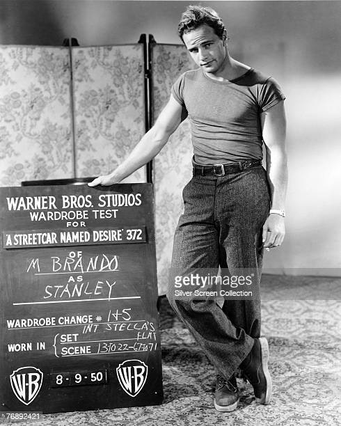 American actor Marlon Brando at Warner Brothers Studios to carry out a wardrobe test for his role as Stanley Kowalski in 'A Streetcar Named Desire'...
