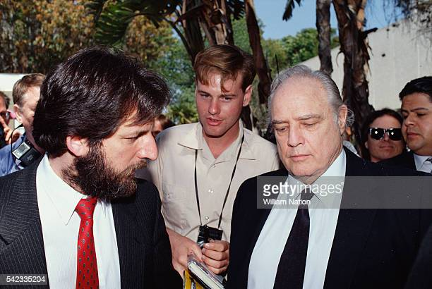 American actor Marlon Brando enters court during his son Christian's trial for the murder of Dag Drollet. Drollet was the allegedly abusive boyfriend...