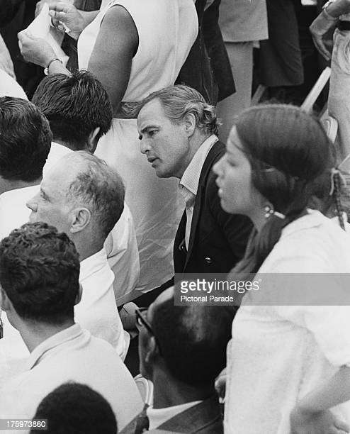 American actor Marlon Brando participates in the Poor People's March in Washington DC to publicise the Poor People's Campaign for economic reform 1968