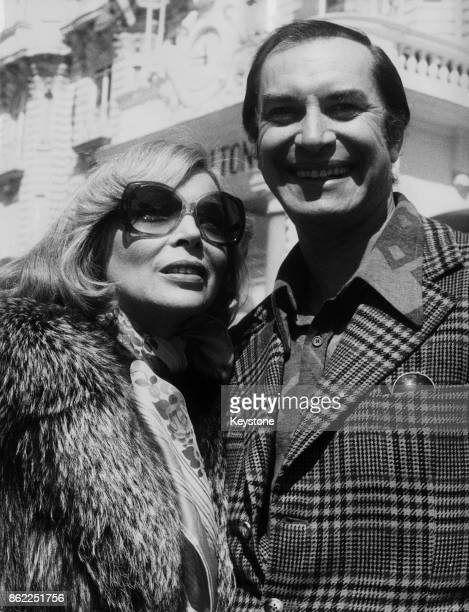 American actor Martin Landau and his wife Barbara Bain on the Croisette at Cannes France 14th April 1975 The couple star together in the television...