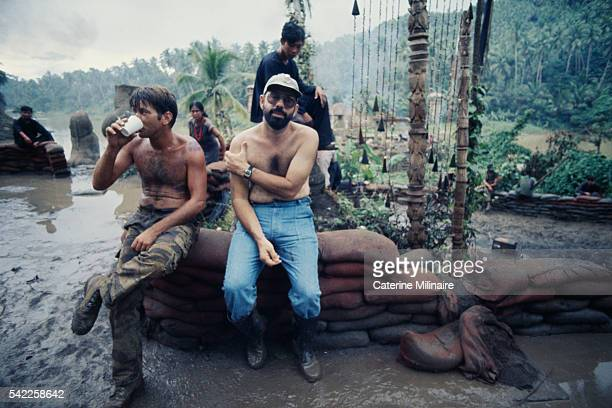 American actor Martin Sheen with director Francis Ford Coppola on the set of the his movie Apocalypse Now based on Joseph Conrad's novel Heart of...
