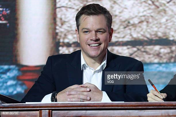 American actor Matt Damon attends the premiere of director Zhang Yimou's film 'The Great Wall' on December 6 2016 in Beijing China