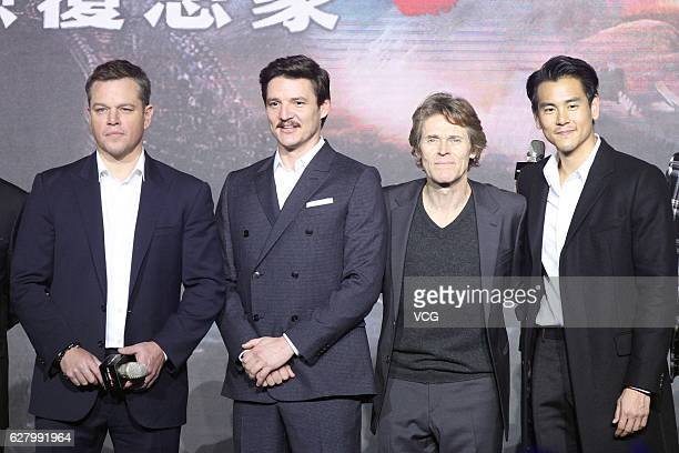 American actor Matt Damon Chileanborn American actor Pedro Pascal American actor Willem Dafoe and actor Eddie Peng Yuyan attend the premiere of...