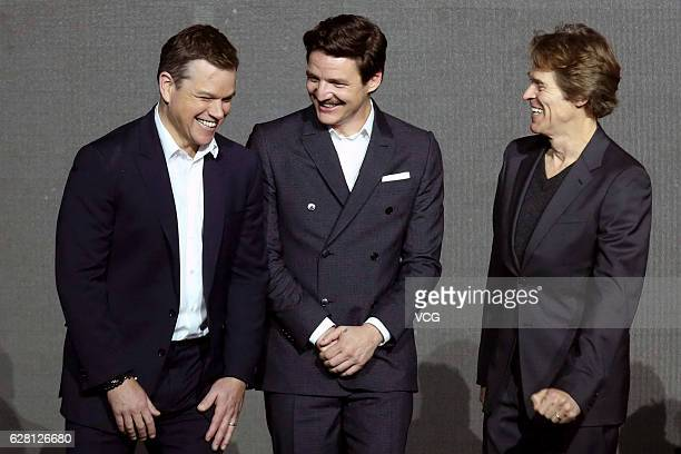 American actor Matt Damon Chileanborn American actor Pedro Pascal American actor Willem Dafoe attend the premiere of director Zhang Yimou's film 'The...
