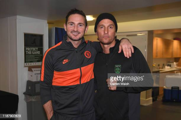 American actor Matthew McConaughey with Frank Lampard of Chelsea in the dressing room after the UEFA Champions League group H match between Chelsea...