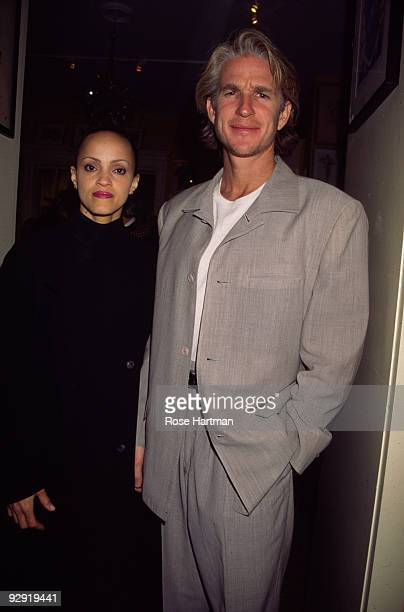 American actor Matthew Modine and his wife Caridad Rivera attend an opening at an unspecified Madison Avenue art gallery New York New York mid 1990s