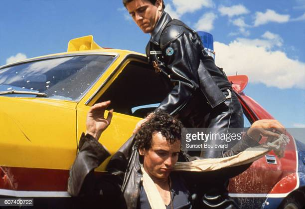 American actor Mel Gibson and English actor Hugh Keays-Byrne on the set of Mad Max written and directed by Australian George Miller.