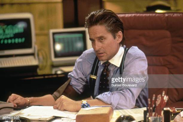 American actor Michael Douglas on the set of Wall Street written and directed by Oliver Stone