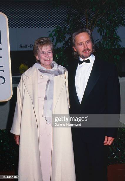 American actor Michael Douglas with his mother, actress Diana Dill at the 53rd Annual Golden Globe Awards, Los Angeles, 21st January 1996.