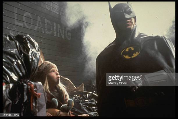 American actor Michael Keaton on the set of Batman directed by Tim Burton