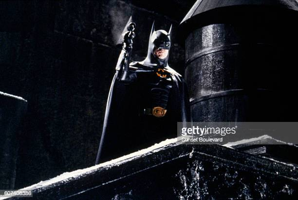 American actor Michael Keaton on the set of Batman Returns directed by Tim Bruton