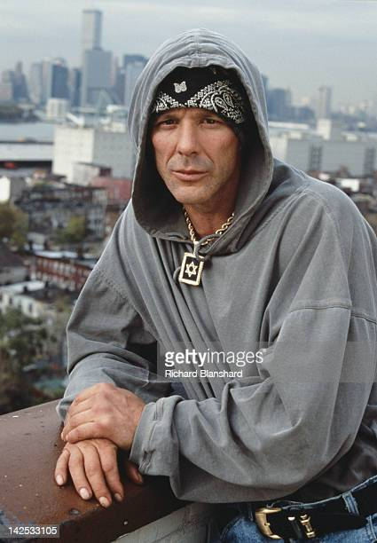 American actor Mickey Rourke as a Jewish drug addict from Brooklyn in the film 'Bullet' 1996