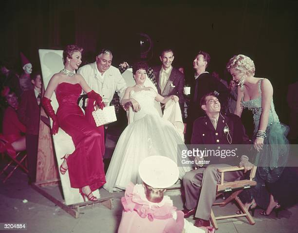 American actor Mitzi Gaynor director Walter Lang actor and singer Ethel Merman vocal director Ken Darby actors Donald O'Connor Johnnie Ray and...