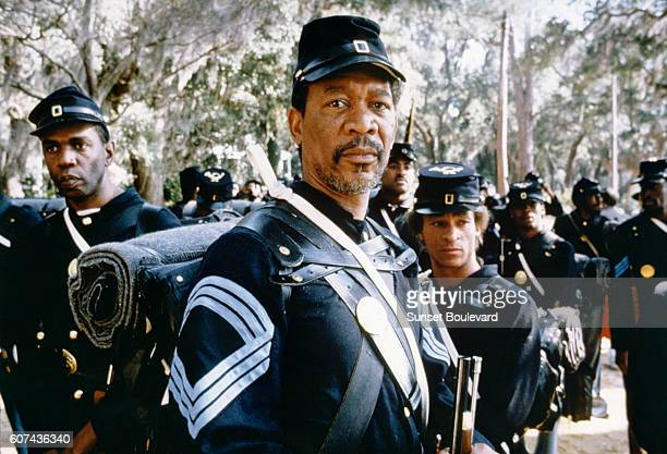 American actor Morgan Freeman on the set of Glory based on the book by Lincoln Kirstein and directed by Edward Zwick