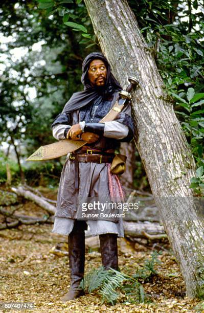 American actor Morgan Freeman on the set of Robin Hood Prince of Thieves directed by Kevin Reynolds