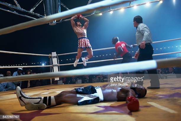 American actor Mr T and actor director screenwriter and producer Sylvester Stallone on the set of Stallone's movie Rocky III