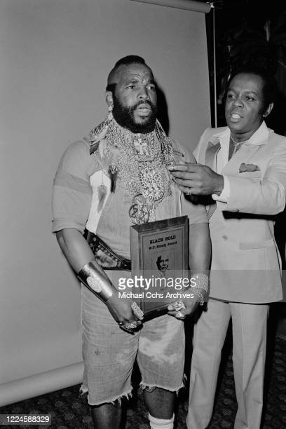 American actor Mr T wins the WC Handy Award at the 1985 Black Gold Awards at the Cocoanut Grove, Ambassador Hotel, Los Angeles, 1985. He is pictured...