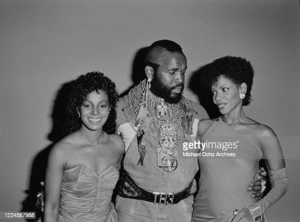 American actor Mr T with singers Rebbie Jackson and Melba Moore at the 1985 Black Gold Awards at the Cocoanut Grove, Ambassador Hotel, Los Angeles,...