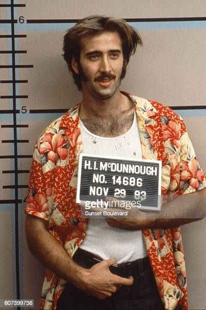 American actor Nicolas Cage on the set of Raising Arizona written directed and produced by Ethan and Joel Coen