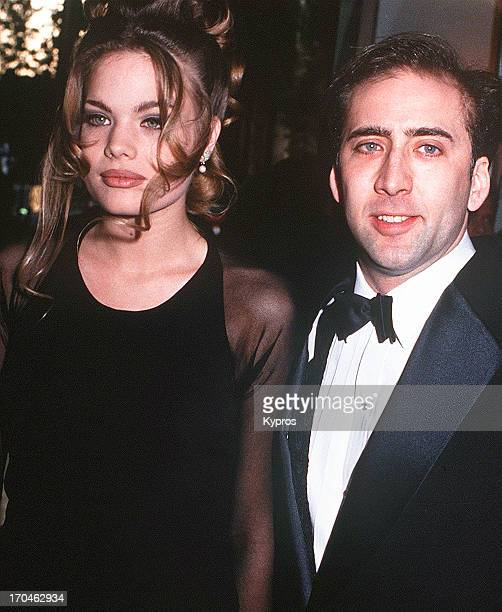 American actor Nicolas Cage with model Kristen Zang during The 50th Annual Golden Globe Awards in Beverly Hills California United States 23rd January...