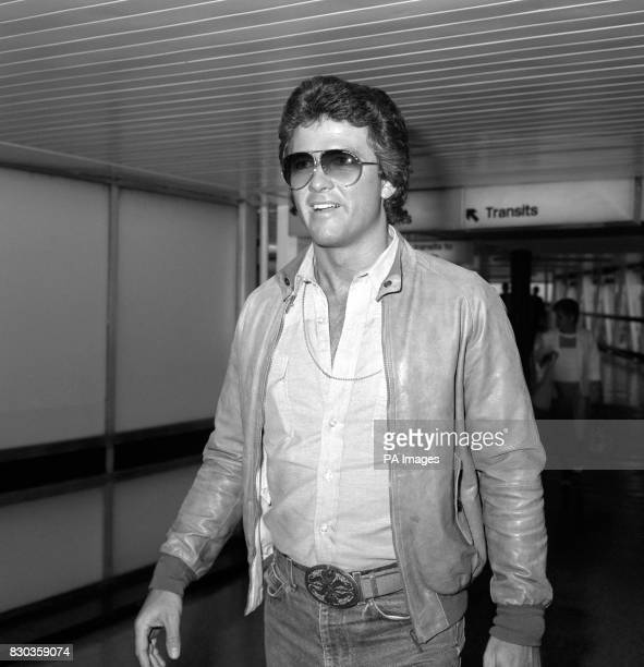 American actor Patrick Duffy who plays Bobby Ewing in the television series 'Dallas' arriving at Heathrow Airport London from Los Angeles to make a...