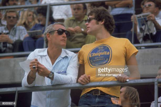 American actor Paul Newman and his son Scott Newman attend the Ontarion 500 automobile race, Ontario, California, September 3, 1972.