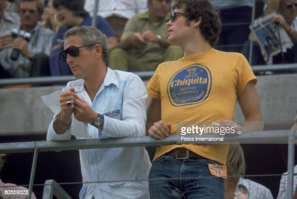 American actor Paul Newman and his son Scott Newman attend the Ontarion 500 automobile race Ontario California September 3 1972